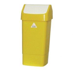 SYR  Afvalbak met schommeldeksel  50 liter wit /geel