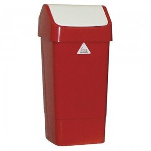 SYR  Swing bin 50 liter white/red polypropylene