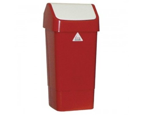 SYR  Afvalbak met schommeldeksel  50 liter wit /rood