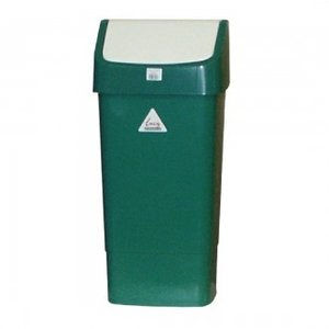 SYR  Afvalbak met schommeldeksel  50 liter wit / groen