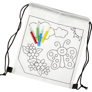 M & T  Backpack for childrens non woven for coloring included. 4 felt-tip pens