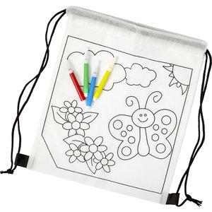 M & T  Sac à dos pour enfants en non tissé à colorier inclus. 4 feutres