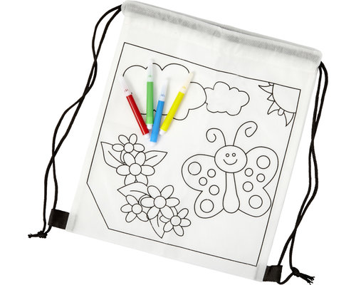 M & T  Tekenrugzak non-woven om zelf in te kleuren geleverd inclusief 4 viltstiften