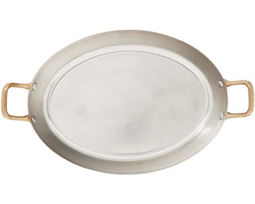 DE BUYER  Oval Chefs Fry Pans outside, copper 90 %  inside stainless steel 10 % Dim. 32 x 23 cm