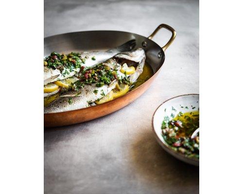 DE BUYER  Oval Chefs Fry Pans outside, copper 90 %  inside stainless steel 10 % Dim. 36 x 26 cm