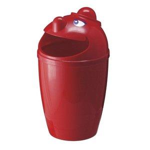 M & T  Afvalbak met grappig gezicht rode kunststof  75 Liter