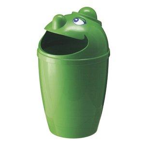 M & T  Afvalbak met grappig gezicht groen kunststof  75 Liter