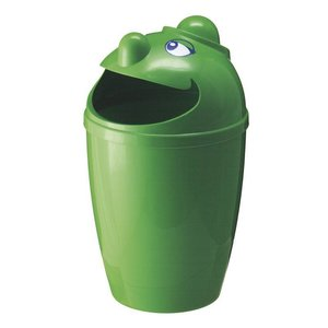 M & T  Waste bin with funny face green plastic 75 liter