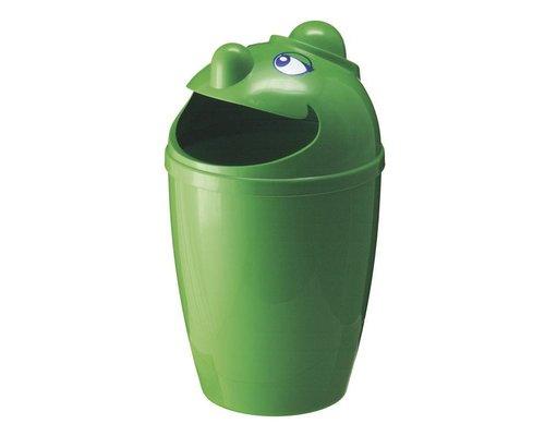 M & T  Afvalbak met grappig gezicht groene kunststof  75 Liter