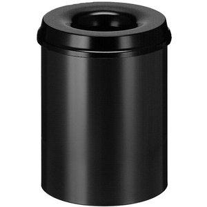 M & T  Corbeille à papier avec couvercle  anti-feu 15 litre noire