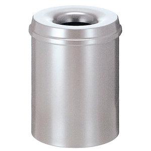 M & T  Flame retardant waste paper bin 15 liter silver