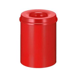 M & T  Corbeille à papier avec couvercle  anti-feu 15 litre rouge