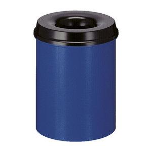 M & T  Corbeille à papier avec couvercle  anti-feu 15 litre bleu & noir