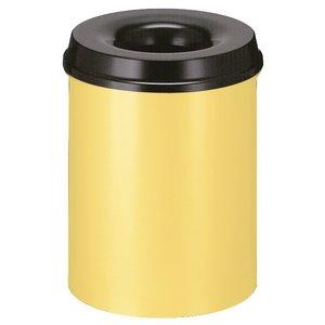 M & T  Corbeille à papier avec couvercle  anti-feu 15 litre jaune  & noir