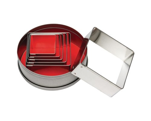 M & T  Box with 6 square plain pastry cutters