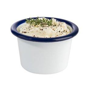 M & T  Pot à sauce modèle haut 8 cl acier émaillé blanche avec bord  couleur bleu