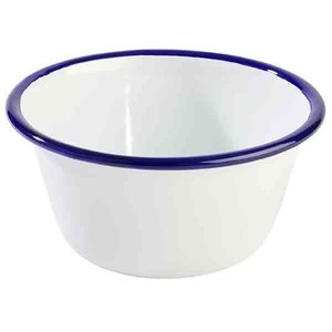 M & T  Bowl 50 cl white enamelled steel with blue edge