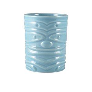 M & T  Tiki beker 36 cl blauw aardewerk laag model