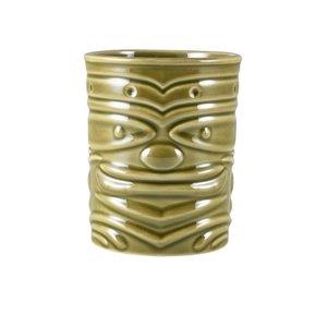 M & T  Tiki beker 36 cl groen aardewerk laag model