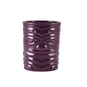 M & T  Tiki beker 36 cl paars aardewerk laag model