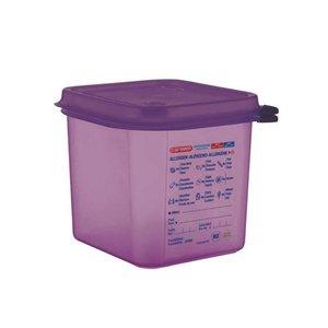 ARAVEN  Bac hermétique avec couvercle GN 1/6  violet anti-allergénique polypropylène