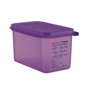 ARAVEN  Food container with lid  GN 1/4  purple allergen polypropylene