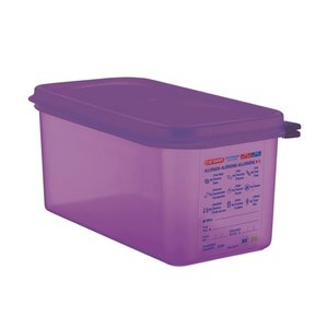 ARAVEN  Food container with lid  GN 1/3  purple allergen polypropylene