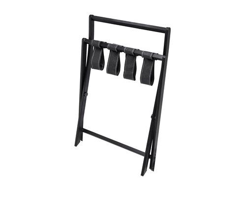 BENTLEY Bagage rek Modena mat zwarte frame met zwarte PU lederen banden