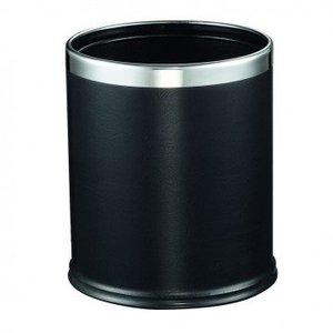 M&T Corbeille de chambre ronde extérieur simili cuir noir