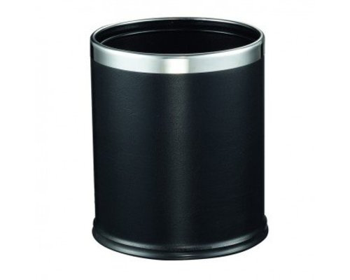 M&T Bin for rooms round black leatherette