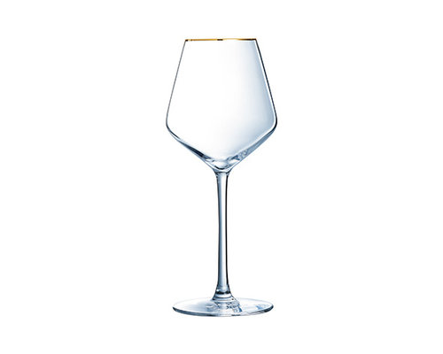 LUMINARC  Wine- cocktail glass 38 cl Ultime with golden rim