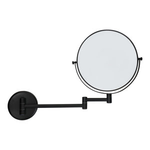 M & T  Miroir mural double face  rond  noir mat 20 cm