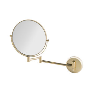 M & T  Dubbelzijdige spiegel rond goud  20 cm