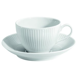 PILLIVUYT Coffee- or tea cup with saucer 18 cl  Plissé