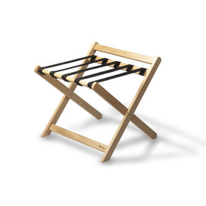 M & T  Luggage rack foldable  with backrest , natural beech wood