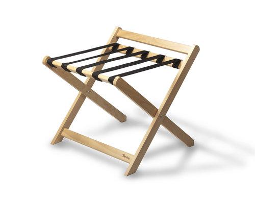 M & T  Bagage rek  vouwbaar met achterrand, naturel beuken hout