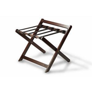 M & T  Rack à bagage en bois d'acajou pliable avec dossier