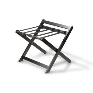 M & T  Luggage rack foldable  with backrest , black wood