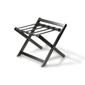 M & T  Rack à bagage en bois noir pliable avec dossier