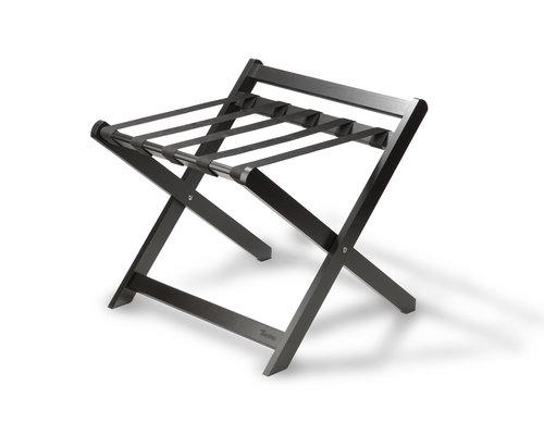 M & T  Bagage rek  vouwbaar met achterrand, zwart gelakt hout