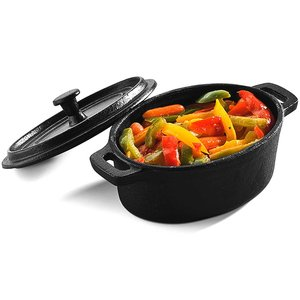 PUJADAS Small oval cook pot with lid black cast iron