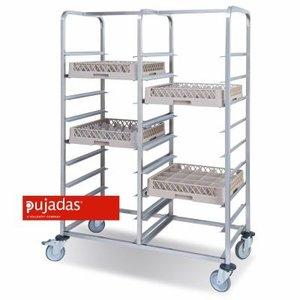 PUJADAS Mobile rack for 2 x 9 dishwashing racks