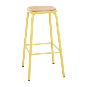 M & T  High stool with wooden seat pad yellow metal