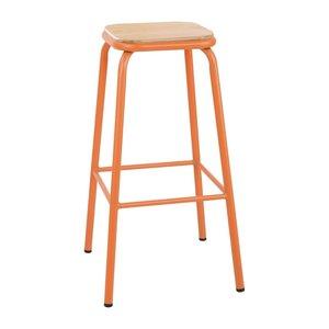 M & T  Barkruk hoog model  oranje gelakt metaal met houten zit