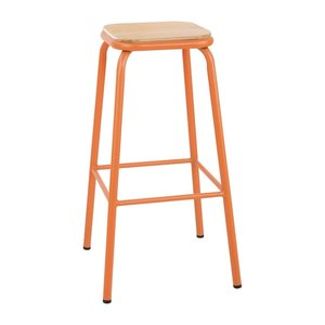 M & T  High stool with wooden seat pad orange metal