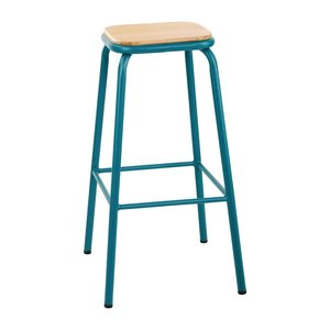M & T  High stool with wooden seat pad ocean blue metal