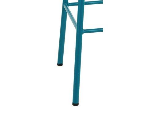 M & T  Barkruk hoog model blauw azuur gelakt metaal met houten zit