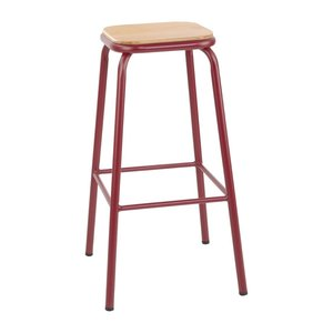 M & T  High stool with wooden seat pad red metal