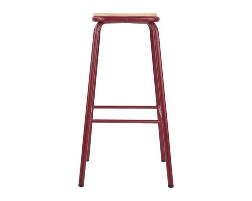 M & T  Barkruk hoog model rood gelakt metaal met houten zit