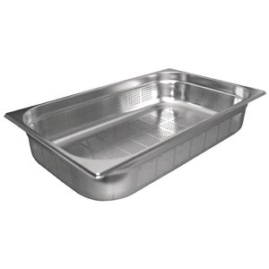 M & T  Gastronorm pan 1/1  stainless steel depth 100 mm perforated